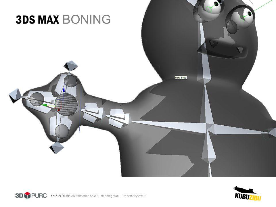 FH-KIEL · MMP 3D Animation SS 09 · Henning Stahl · Robert Seyferth · 3DS MAX MORPHING 3 Gesten und kleine Bewegungen wurden durch Morphing realisiert, dadurch konnten sie an beliebiger Stelle leicht in die Animation eingebaut werden.