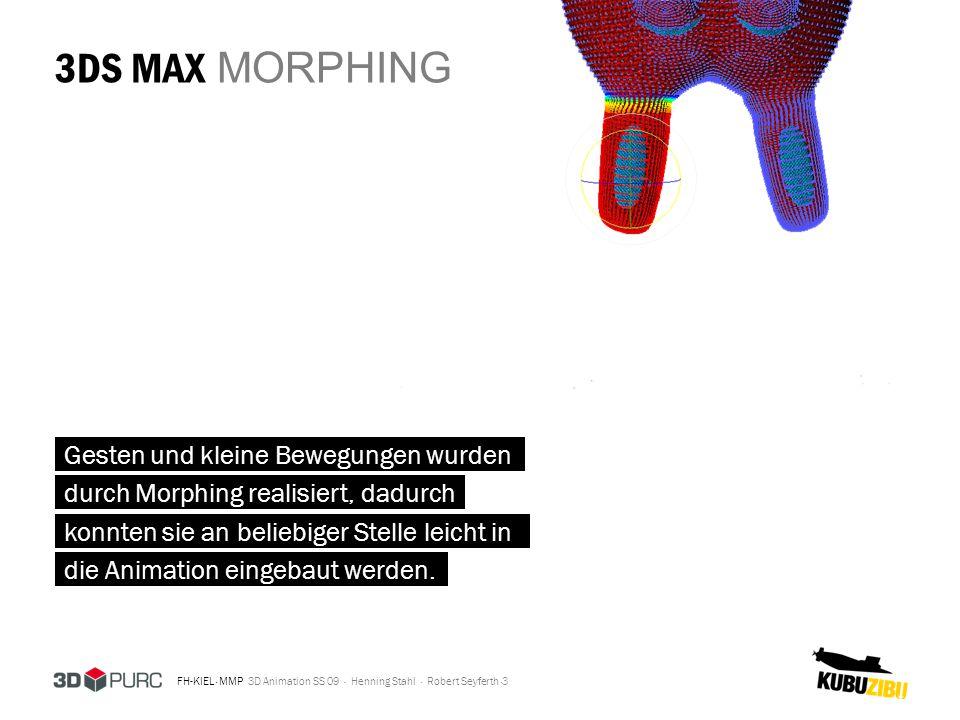 FH-KIEL · MMP 3D Animation SS 09 · Henning Stahl · Robert Seyferth · 3DS MAX MORPHING 3 Gesten und kleine Bewegungen wurden durch Morphing realisiert,