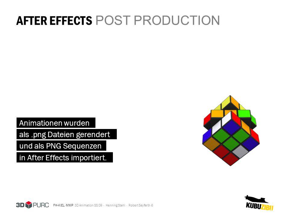 FH-KIEL · MMP 3D Animation SS 09 · Henning Stahl · Robert Seyferth · AFTER EFFECTS POST PRODUCTION 7 3D PURC Logo in Illustrator vorbereitet
