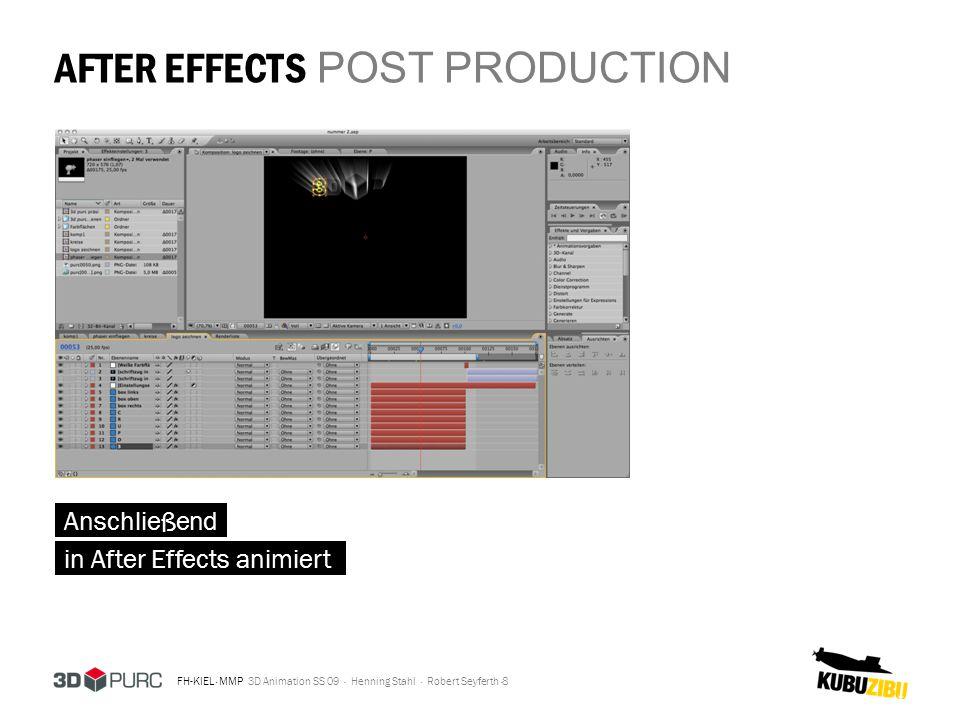 FH-KIEL · MMP 3D Animation SS 09 · Henning Stahl · Robert Seyferth · AFTER EFFECTS POST PRODUCTION 8 Anschließend in After Effects animiert