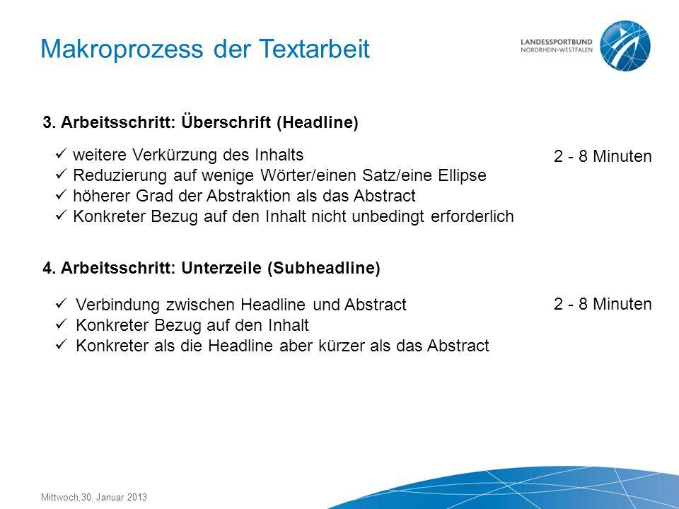 Mittwoch,30. Januar 2013 Makroprozess der Textarbeit 3.000 Zeichen, ca. ½ DIN A 4 Blatt als Word-Dokument/Open Office Rechtschreibprüfung anwenden Kor