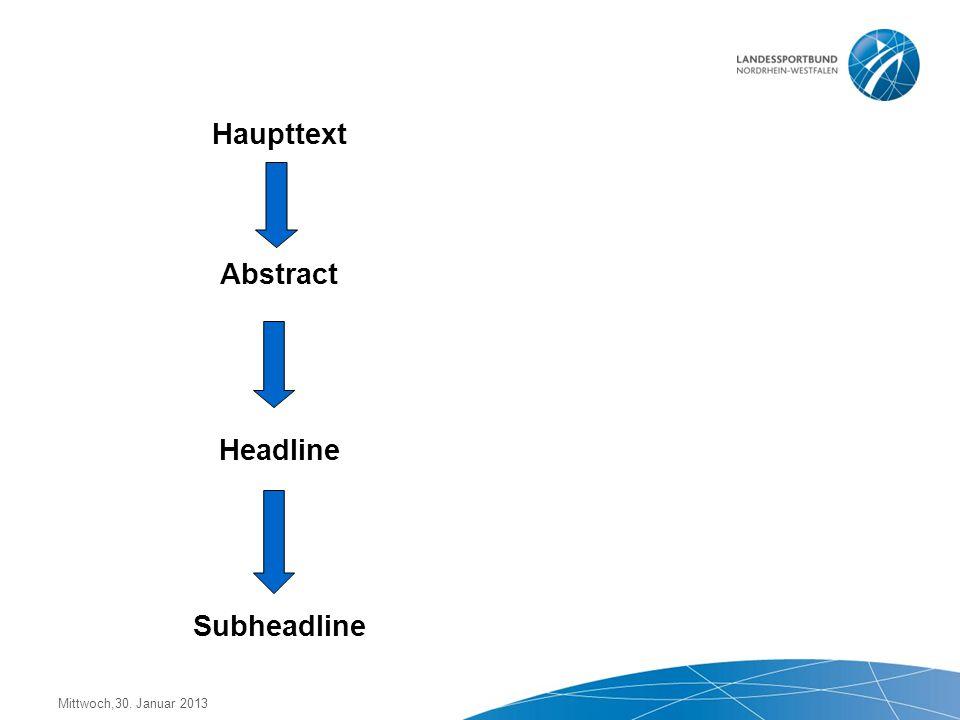 Mittwoch,30. Januar 2013 3. Arbeitsschritt: Überschrift (Headline) 4. Arbeitsschritt: Unterzeile (Subheadline) weitere Verkürzung des Inhalts Reduzi