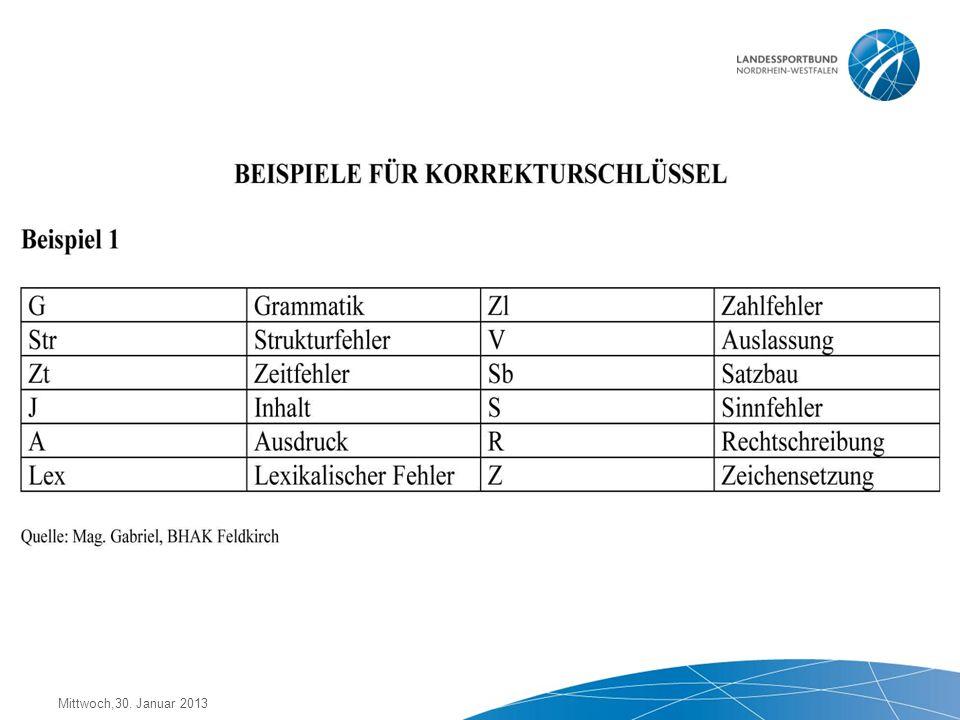 Mittwoch,30. Januar 2013 Ist der Aufbau des Textes stimmig? Sind ZDF korrekt? Ist der Stil angemessen? Ist der Text sprachlich 'gut' und konsequent? S