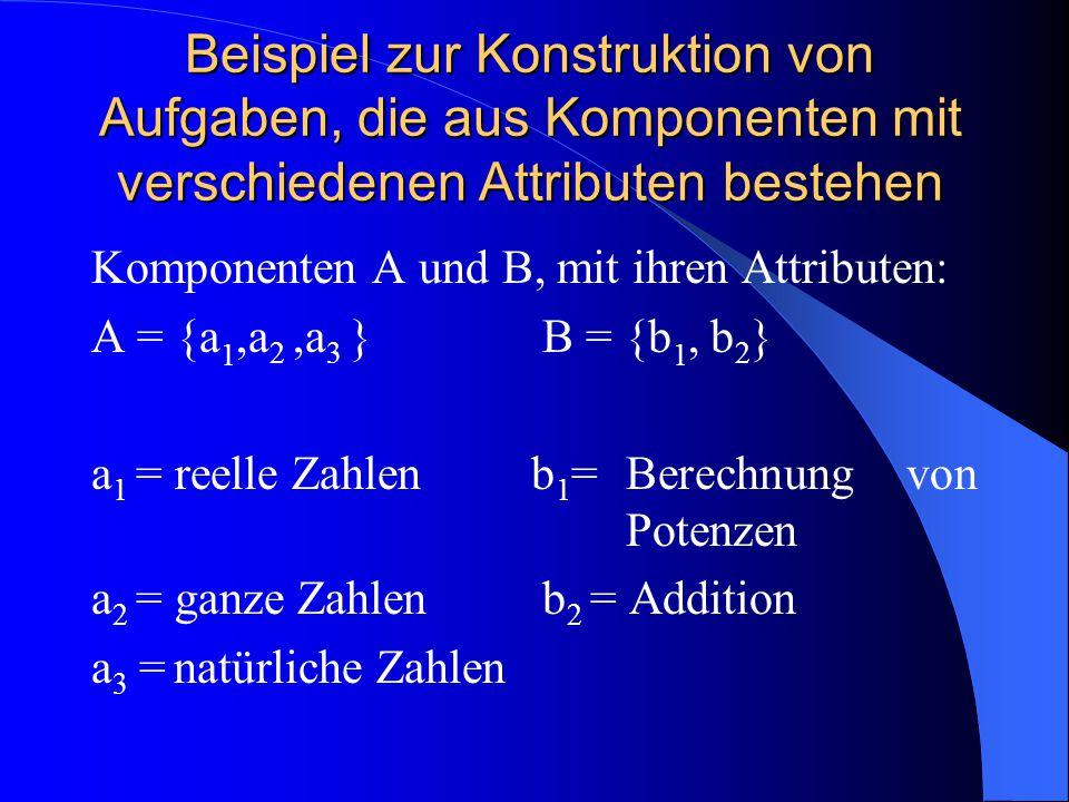 Beispiel zur Konstruktion von Aufgaben, die aus Komponenten mit verschiedenen Attributen bestehen Komponenten A und B, mit ihren Attributen: A = {a 1,