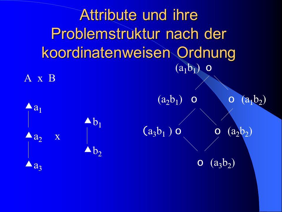Attribute und ihre Problemstruktur nach der koordinatenweisen Ordnung A x B  a 1  b 1  a 2 x  b 2  a 3 (a 1 b 1 ) o (a 2 b 1 ) o o (a 1 b 2 ) ( a