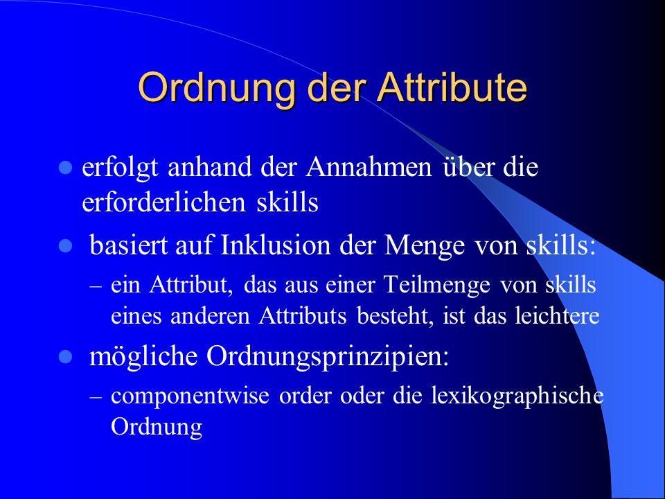 Ordnung der Attribute erfolgt anhand der Annahmen über die erforderlichen skills basiert auf Inklusion der Menge von skills: – ein Attribut, das aus e