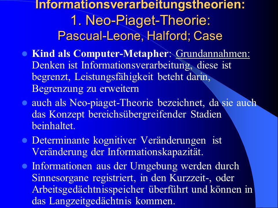 Informationsverarbeitungstheorien: 1. Neo-Piaget-Theorie: Pascual-Leone, Halford; Case Kind als Computer-Metapher: Grundannahmen: Denken ist Informati