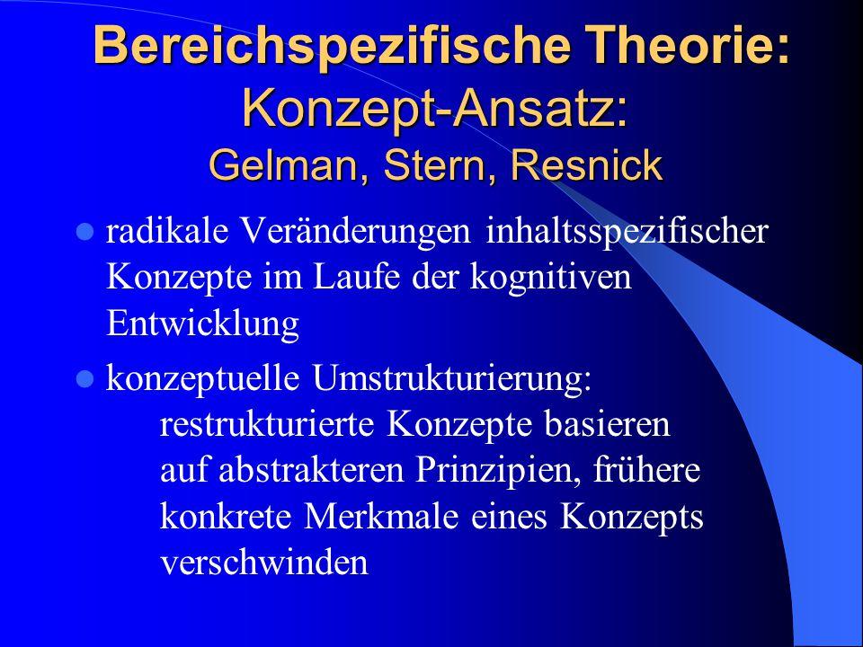Bereichspezifische Theorie: Konzept-Ansatz: Gelman, Stern, Resnick Bereichspezifische Theorie: Konzept-Ansatz: Gelman, Stern, Resnick radikale Verände