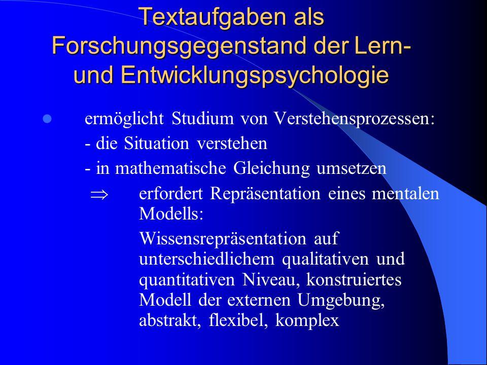 Textaufgaben als Forschungsgegenstand der Lern- und Entwicklungspsychologie ermöglicht Studium von Verstehensprozessen: - die Situation verstehen - in