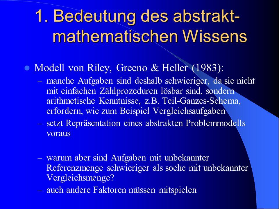 1. Bedeutung des abstrakt- mathematischen Wissens Modell von Riley, Greeno & Heller (1983): – manche Aufgaben sind deshalb schwieriger, da sie nicht m