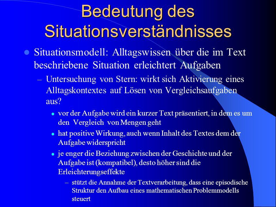 Bedeutung des Situationsverständnisses Situationsmodell: Alltagswissen über die im Text beschriebene Situation erleichtert Aufgaben – Untersuchung von