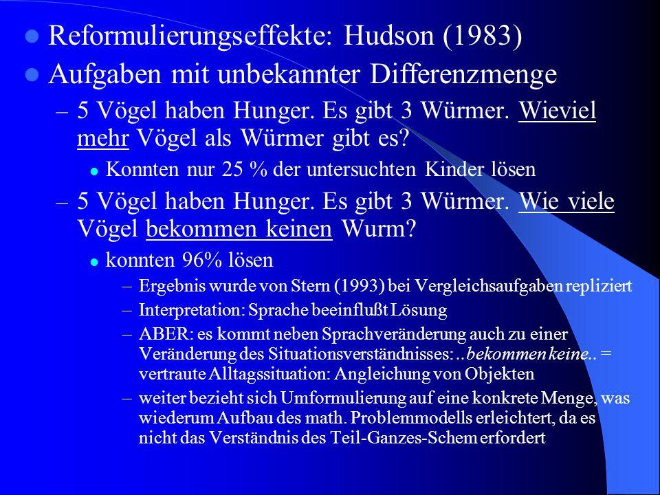 Reformulierungseffekte: Hudson (1983) Aufgaben mit unbekannter Differenzmenge – 5 Vögel haben Hunger. Es gibt 3 Würmer. Wieviel mehr Vögel als Würmer