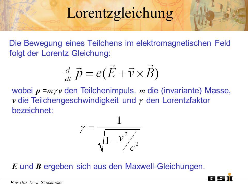 Priv.-Doz. Dr. J. Struckmeier Lorentzgleichung Die Bewegung eines Teilchens im elektromagnetischen Feld folgt der Lorentz Gleichung: wobei p = m  v