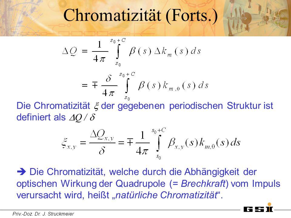 Priv.-Doz. Dr. J. Struckmeier Chromatizität (Forts.) Die Chromatizität  der gegebenen periodischen Struktur ist definiert als  Q /   Die Chromatiz