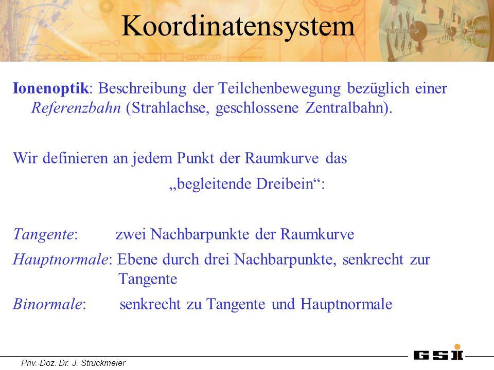 Priv.-Doz. Dr. J. Struckmeier Koordinatensystem Ionenoptik: Beschreibung der Teilchenbewegung bezüglich einer Referenzbahn (Strahlachse, geschlossene