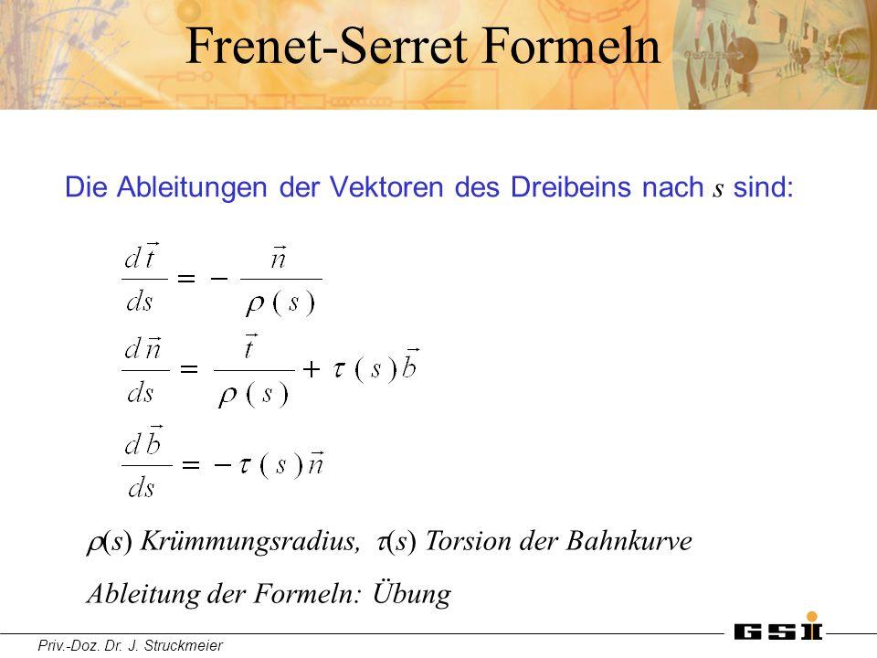 Priv.-Doz. Dr. J. Struckmeier Frenet-Serret Formeln Die Ableitungen der Vektoren des Dreibeins nach s sind:  s) Krümmungsradius,  s) Torsion der B