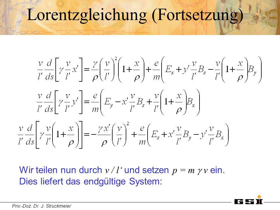 Priv.-Doz. Dr. J. Struckmeier Lorentzgleichung (Fortsetzung) Wir teilen nun durch v / l' und setzen p = m  v ein. Dies liefert das endgültige System