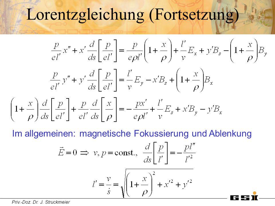 Priv.-Doz. Dr. J. Struckmeier Lorentzgleichung (Fortsetzung) Im allgemeinen: magnetische Fokussierung und Ablenkung