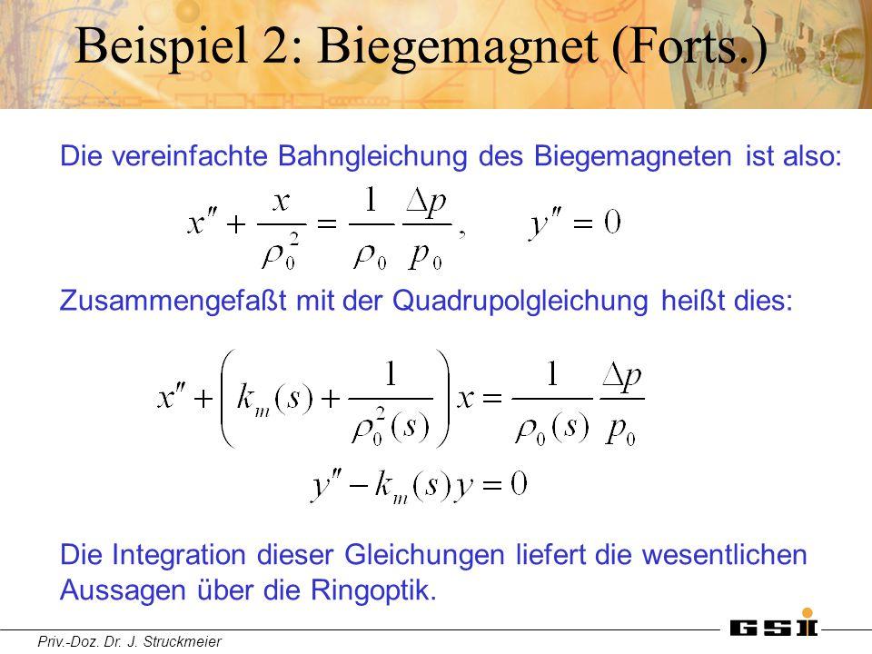 Priv.-Doz. Dr. J. Struckmeier Beispiel 2: Biegemagnet (Forts.) Die vereinfachte Bahngleichung des Biegemagneten ist also: Zusammengefaßt mit der Quadr