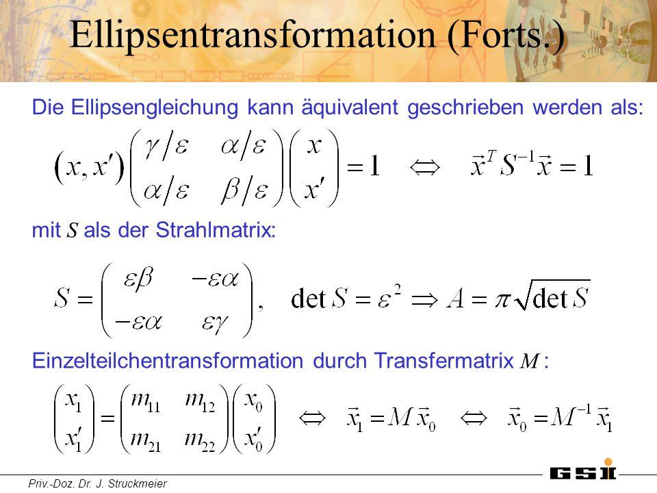 Priv.-Doz. Dr. J. Struckmeier Ellipsentransformation (Forts.) Die Ellipsengleichung kann äquivalent geschrieben werden als: mit S als der Strahlmatrix