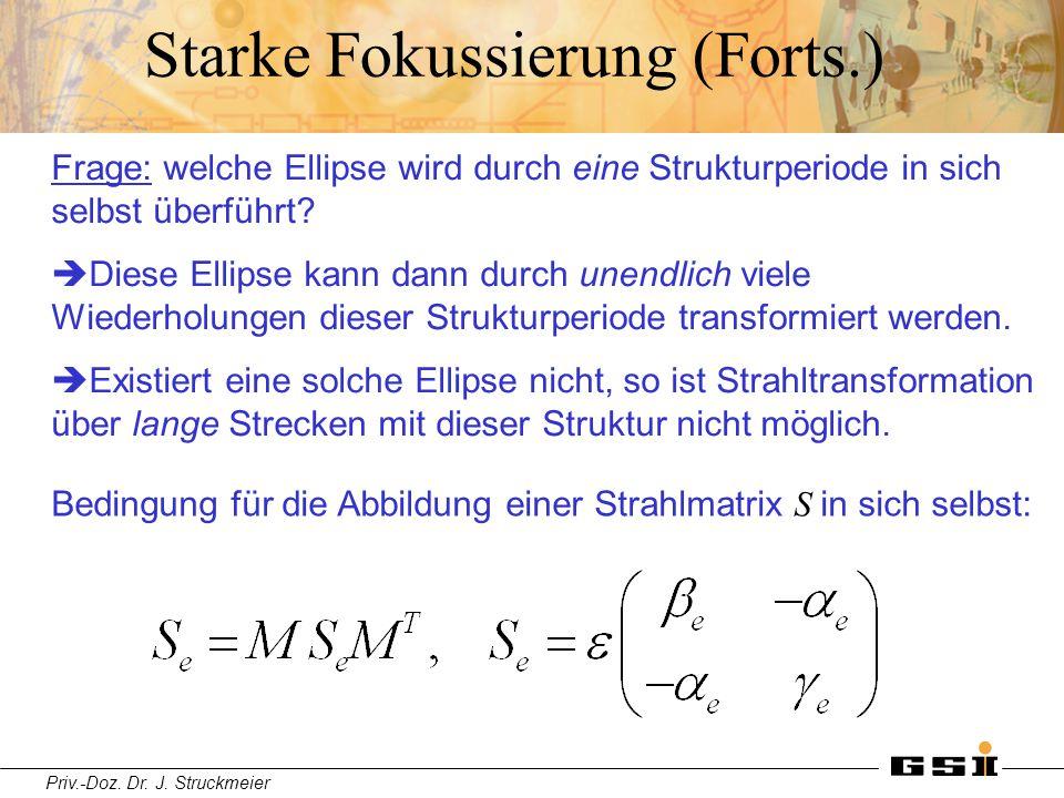 Priv.-Doz. Dr. J. Struckmeier Starke Fokussierung (Forts.) Frage: welche Ellipse wird durch eine Strukturperiode in sich selbst überführt?  Diese Ell