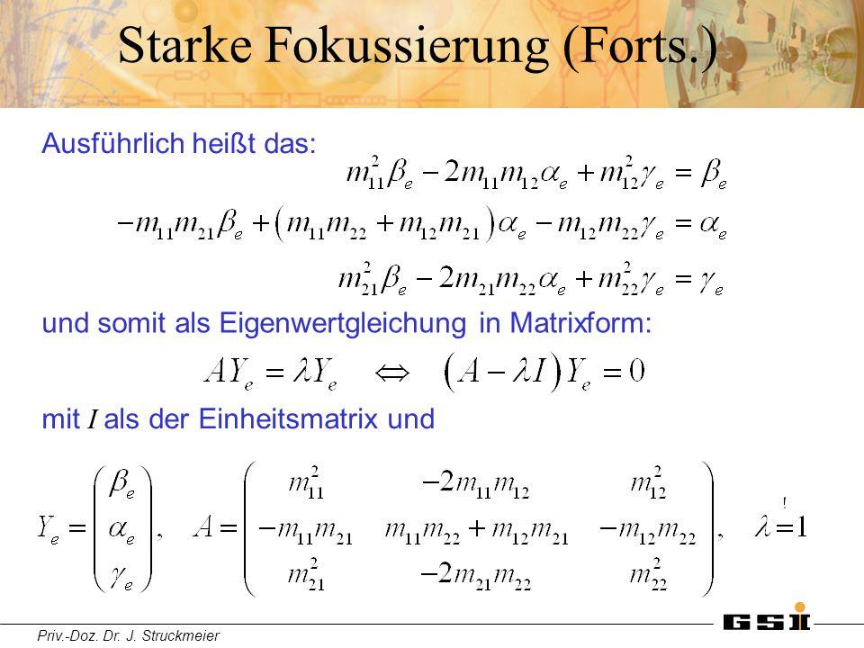 Priv.-Doz. Dr. J. Struckmeier Starke Fokussierung (Forts.) Ausführlich heißt das: und somit als Eigenwertgleichung in Matrixform: mit I als der Einhei