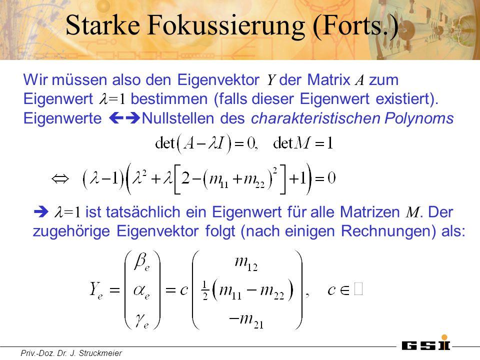 Priv.-Doz. Dr. J. Struckmeier Starke Fokussierung (Forts.) Wir müssen also den Eigenvektor Y der Matrix A zum Eigenwert =1 bestimmen (falls dieser Eig