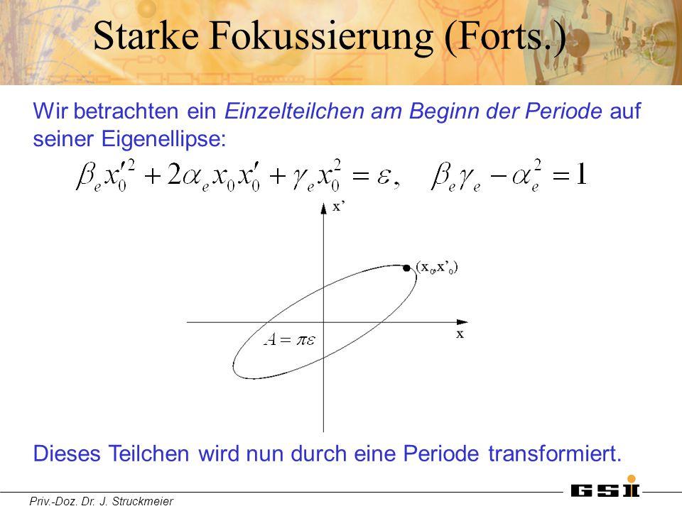 Priv.-Doz. Dr. J. Struckmeier Starke Fokussierung (Forts.) Wir betrachten ein Einzelteilchen am Beginn der Periode auf seiner Eigenellipse: Dieses Tei
