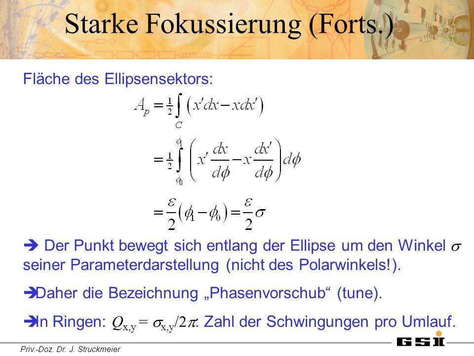 Priv.-Doz. Dr. J. Struckmeier Starke Fokussierung (Forts.) Fläche des Ellipsensektors:  Der Punkt bewegt sich entlang der Ellipse um den Winkel  sei