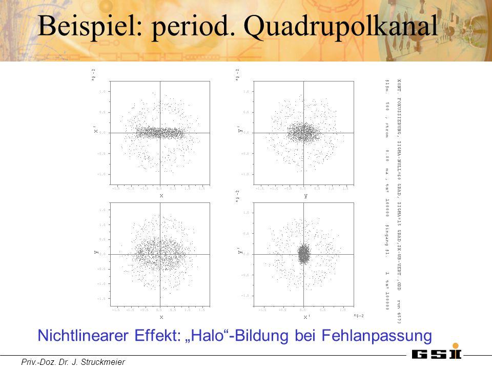 """Priv.-Doz. Dr. J. Struckmeier Beispiel: period. Quadrupolkanal Nichtlinearer Effekt: """"Halo""""-Bildung bei Fehlanpassung"""