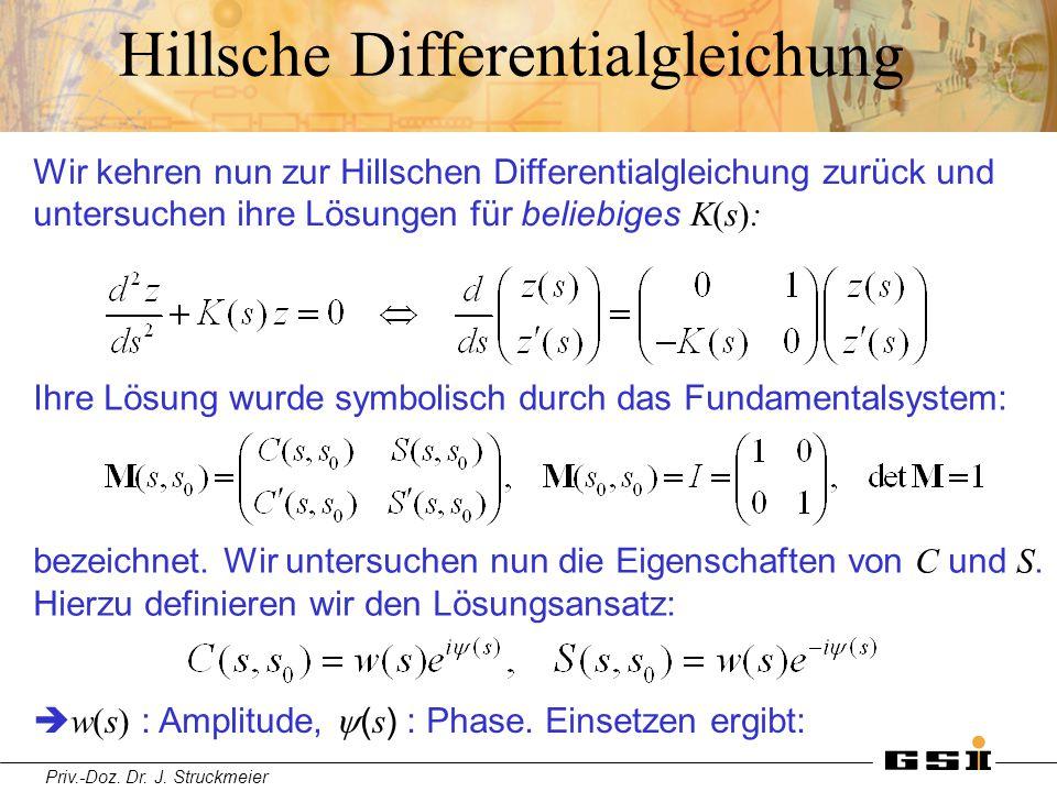 Priv.-Doz. Dr. J. Struckmeier Hillsche Differentialgleichung Wir kehren nun zur Hillschen Differentialgleichung zurück und untersuchen ihre Lösungen f