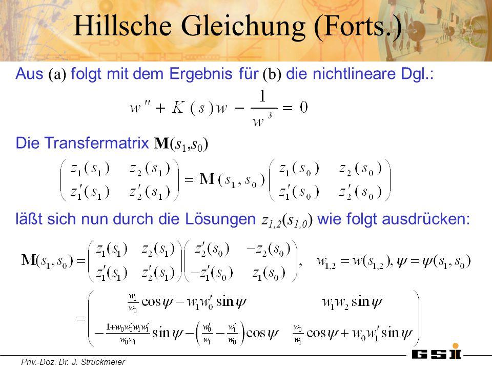 Priv.-Doz. Dr. J. Struckmeier Hillsche Gleichung (Forts.) Die Transfermatrix M(s 1,s 0 ) Aus (a) folgt mit dem Ergebnis für (b) die nichtlineare Dgl.: