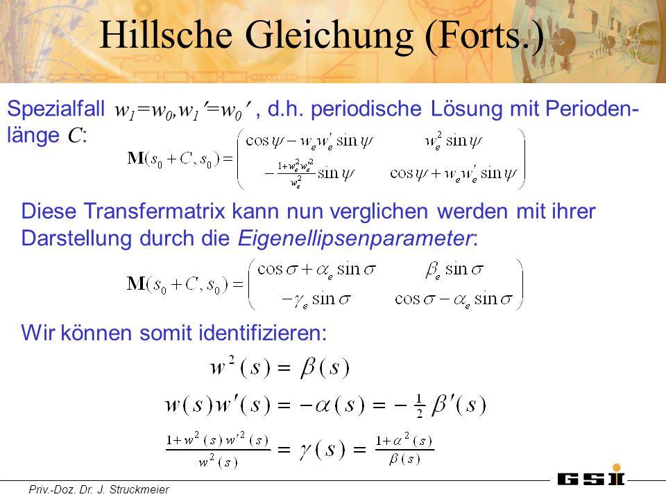 Priv.-Doz. Dr. J. Struckmeier Hillsche Gleichung (Forts.) Wir können somit identifizieren: Diese Transfermatrix kann nun verglichen werden mit ihrer D