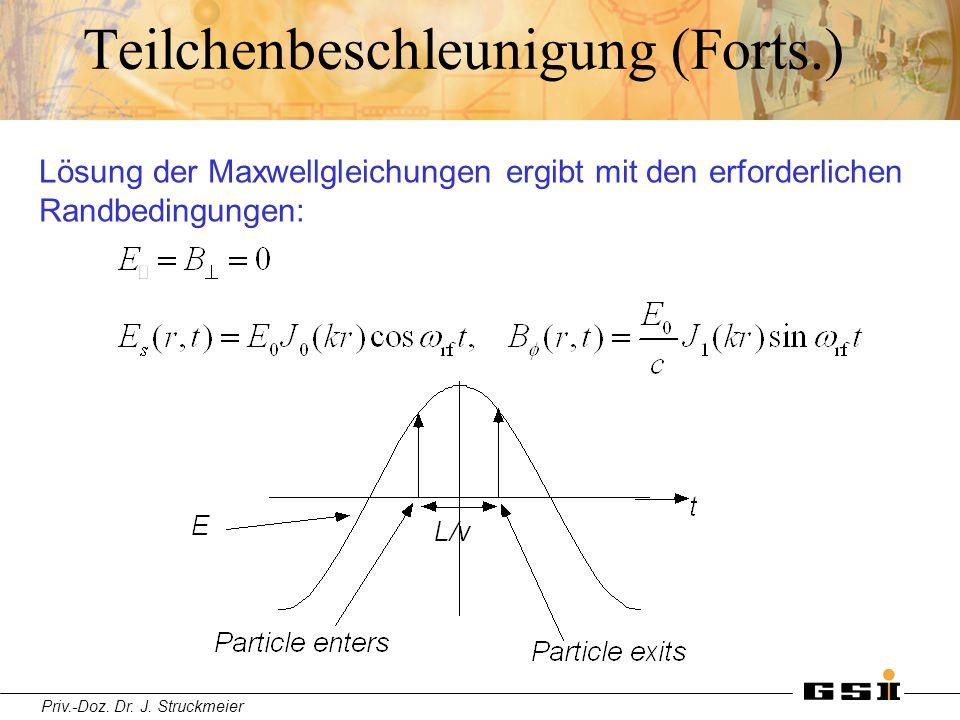 Priv.-Doz. Dr. J. Struckmeier Teilchenbeschleunigung (Forts.) Lösung der Maxwellgleichungen ergibt mit den erforderlichen Randbedingungen: