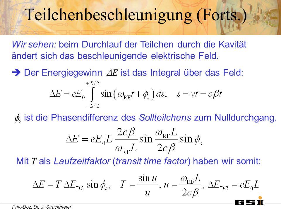 Priv.-Doz. Dr. J. Struckmeier Teilchenbeschleunigung (Forts.) Wir sehen: beim Durchlauf der Teilchen durch die Kavität ändert sich das beschleunigende