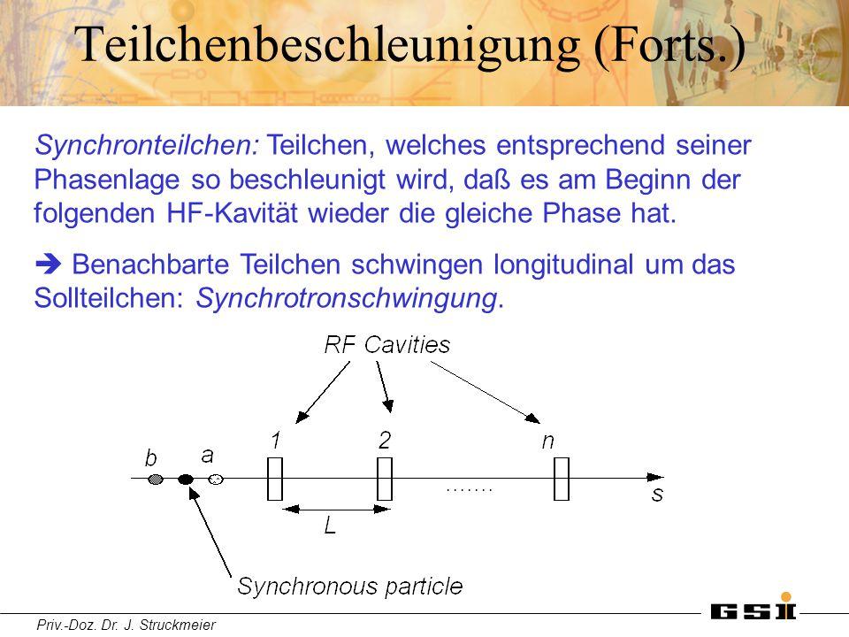 Priv.-Doz. Dr. J. Struckmeier Teilchenbeschleunigung (Forts.) Synchronteilchen: Teilchen, welches entsprechend seiner Phasenlage so beschleunigt wird,