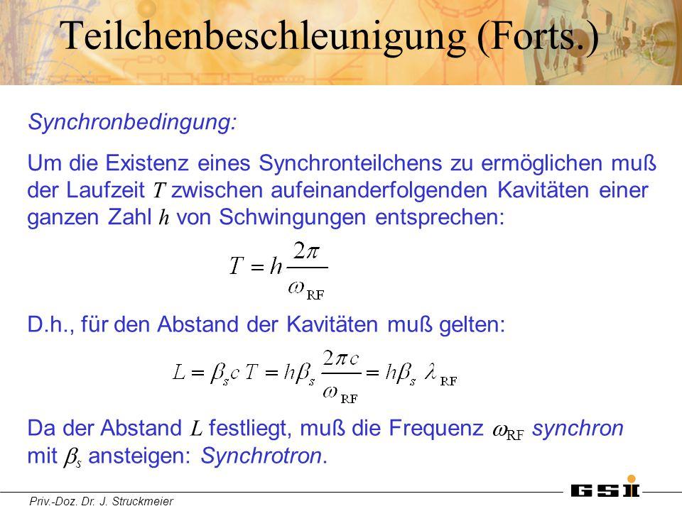 Priv.-Doz. Dr. J. Struckmeier Teilchenbeschleunigung (Forts.) Synchronbedingung: Um die Existenz eines Synchronteilchens zu ermöglichen muß der Laufze