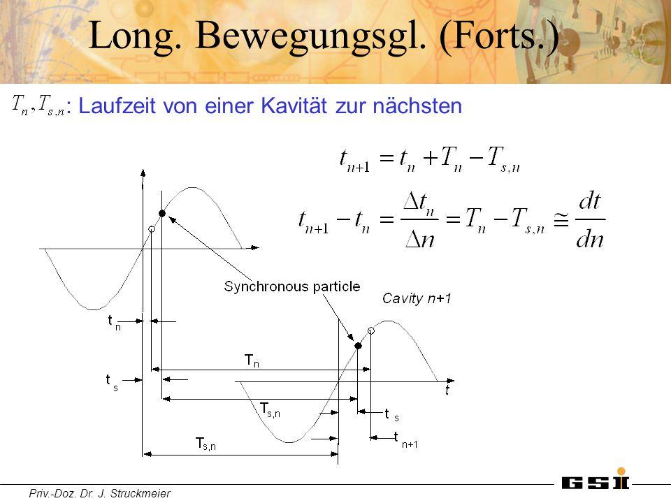 Priv.-Doz. Dr. J. Struckmeier Long. Bewegungsgl. (Forts.) : Laufzeit von einer Kavität zur nächsten