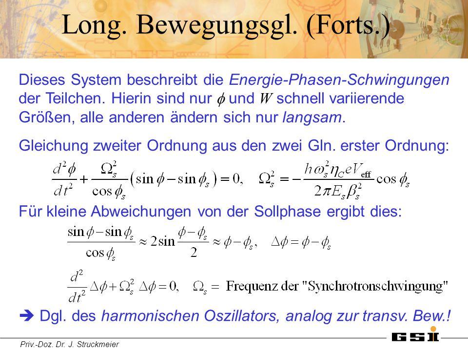 Priv.-Doz. Dr. J. Struckmeier Long. Bewegungsgl. (Forts.) Dieses System beschreibt die Energie-Phasen-Schwingungen der Teilchen. Hierin sind nur  und