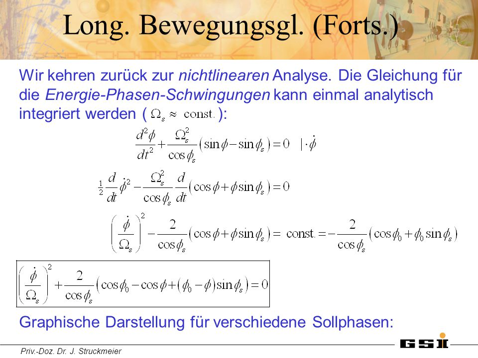 Priv.-Doz. Dr. J. Struckmeier Long. Bewegungsgl. (Forts.) Wir kehren zurück zur nichtlinearen Analyse. Die Gleichung für die Energie-Phasen-Schwingung
