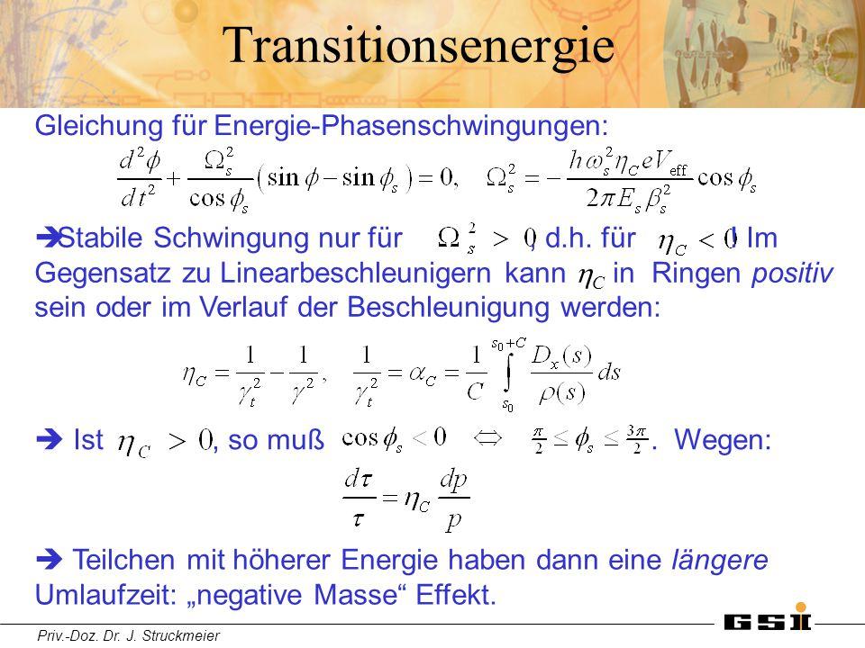 Priv.-Doz. Dr. J. Struckmeier Transitionsenergie Gleichung für Energie-Phasenschwingungen:  Ist , so muß. Wegen:  Stabile Schwingung n