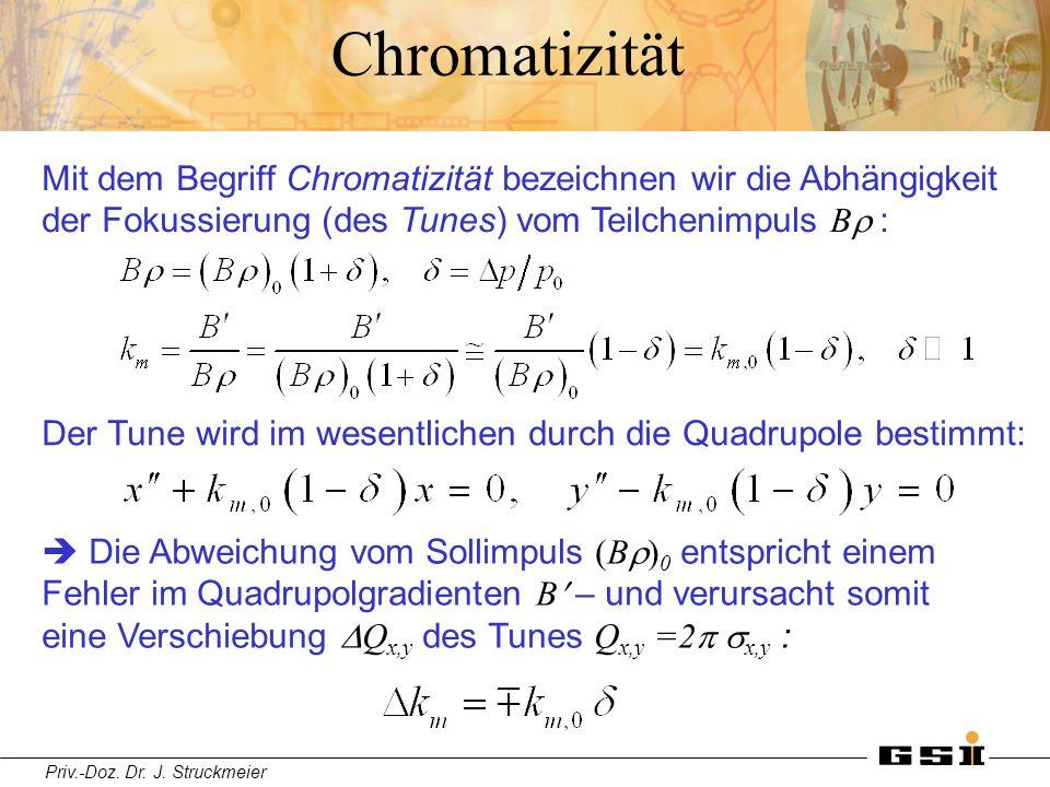 Priv.-Doz. Dr. J. Struckmeier Chromatizität Mit dem Begriff Chromatizität bezeichnen wir die Abhängigkeit der Fokussierung (des Tunes) vom Teilchenimp