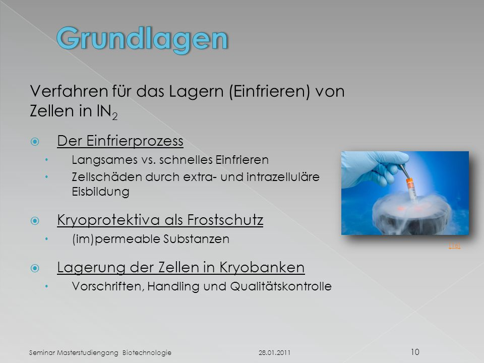 Verfahren für das Lagern (Einfrieren) von Zellen in lN 2  Der Einfrierprozess  Langsames vs.