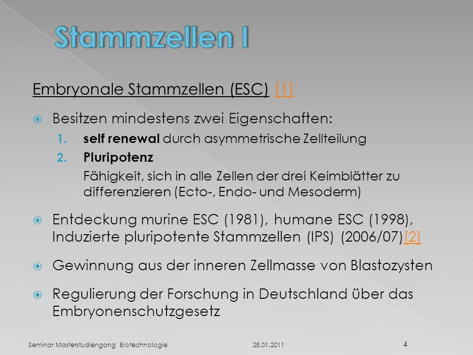 Embryonale Stammzellen (ESC) [1][1]  Besitzen mindestens zwei Eigenschaften: 1.