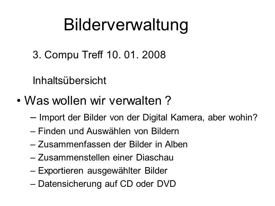 Picasa-Programmaufbau Menüleiste Befehls- leiste Ordner- liste.