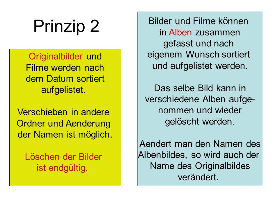 Prinzip 2 Originalbilder und Filme werden nach dem Datum sortiert aufgelistet. Verschieben in andere Ordner und Aenderung der Namen ist möglich. Lösch