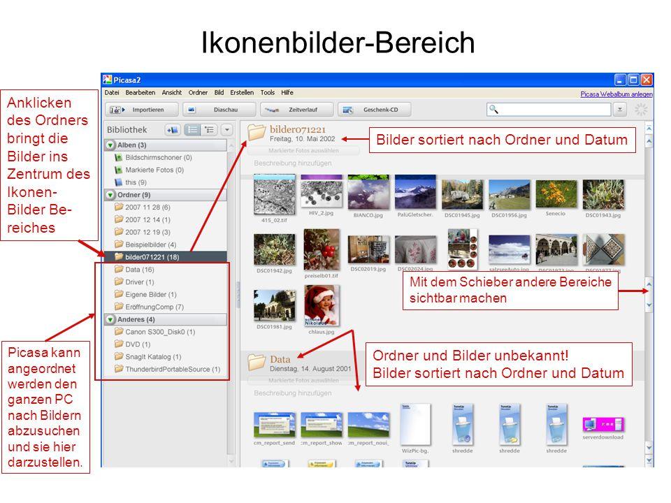 Ikonenbilder-Bereich Bilder sortiert nach Ordner und Datum Ordner und Bilder unbekannt! Bilder sortiert nach Ordner und Datum Anklicken des Ordners br