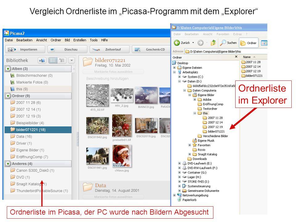 """Ordnerliste im Picasa, der PC wurde nach Bildern Abgesucht Ordnerliste im Explorer Vergleich Ordnerliste im """"Picasa-Programm mit dem """"Explorer"""""""