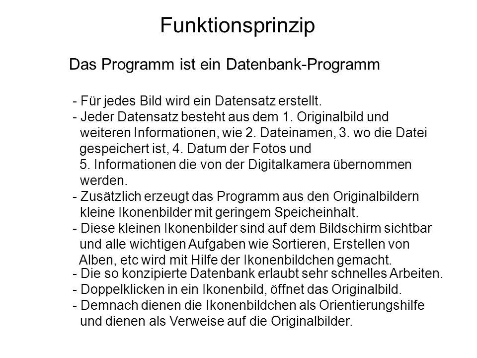 Funktionsprinzip Das Programm ist ein Datenbank-Programm - Für jedes Bild wird ein Datensatz erstellt. - Jeder Datensatz besteht aus dem 1. Originalbi