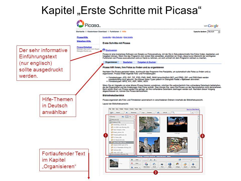 """Kapitel """"Erste Schritte mit Picasa"""" Der sehr informative Einführungstext (nur englisch) sollte ausgedruckt werden. Hife-Themen in Deutsch anwählbar Fo"""